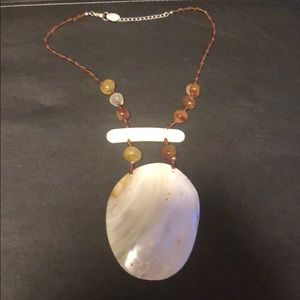 Brown Beaded adjustable Necklace with Large Shell